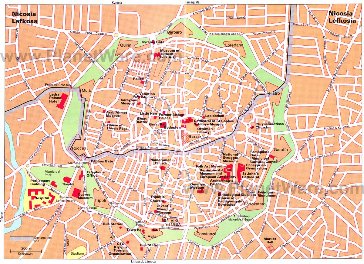 Nicosia Map - Tourist Attractions