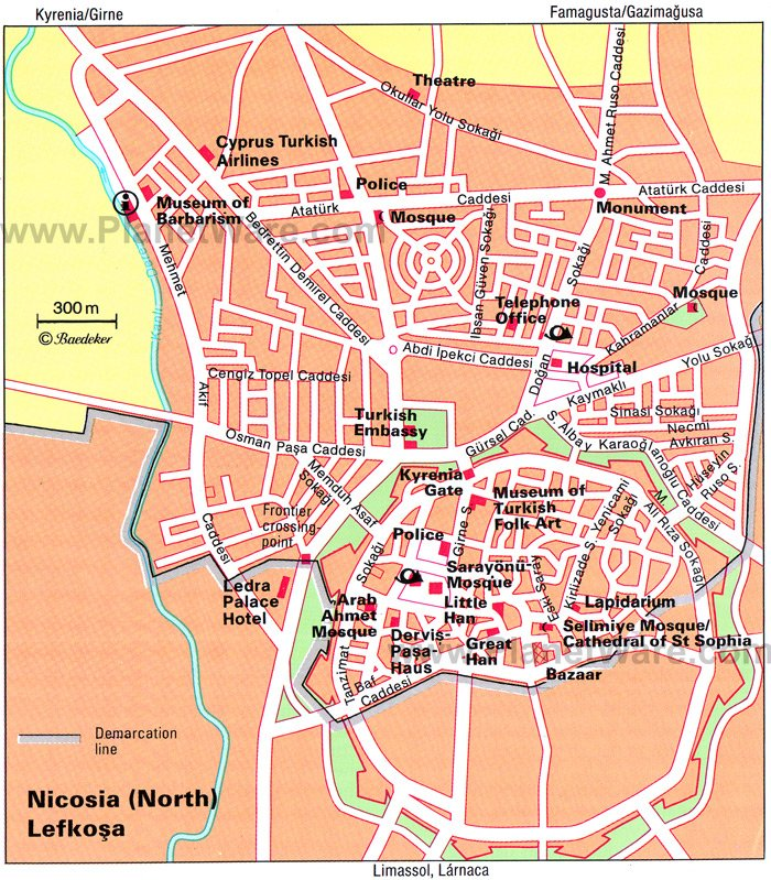 Nicosia (North) Map - Tourist Attractions