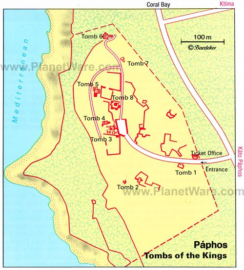 Paphos- Tombs of the Kings - Site map