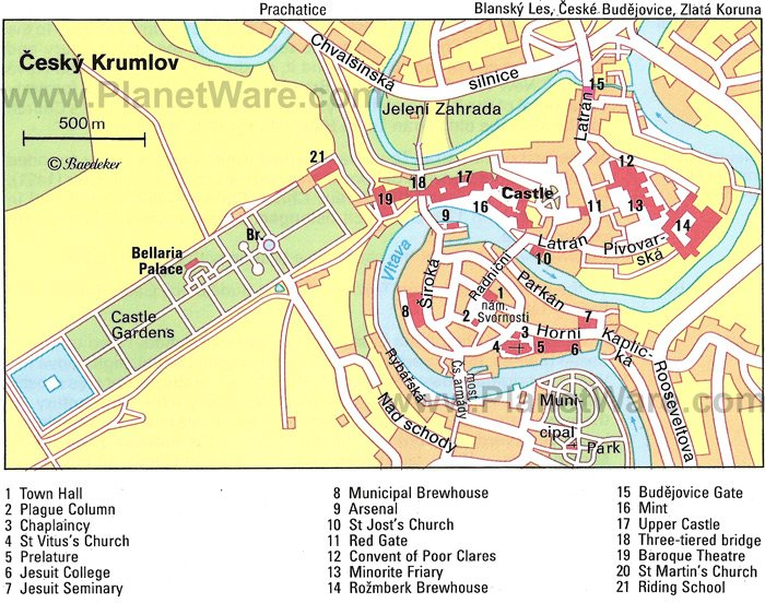 Cesky Krumlov Map - Tourist Attractions