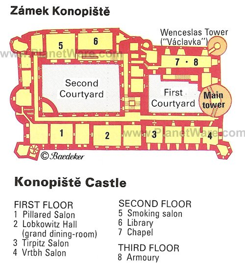 Konopiste Castle - Floor plan map