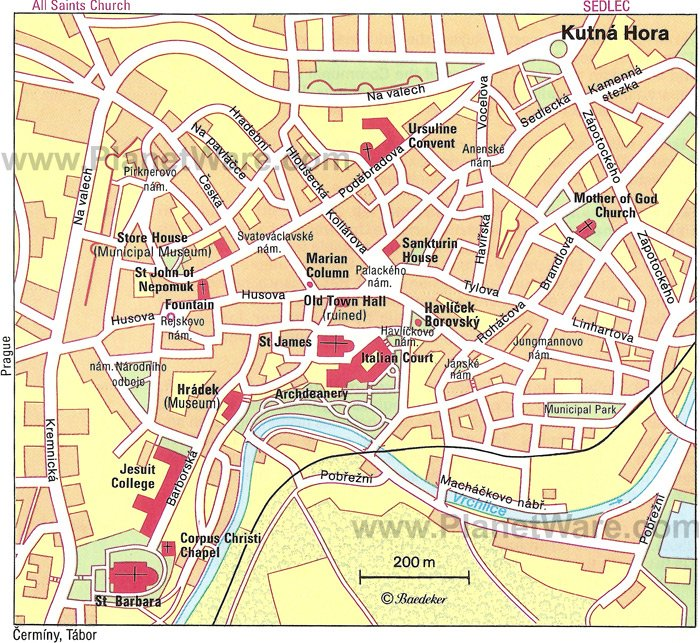 Kutna Hora Map - Tourist Attractions