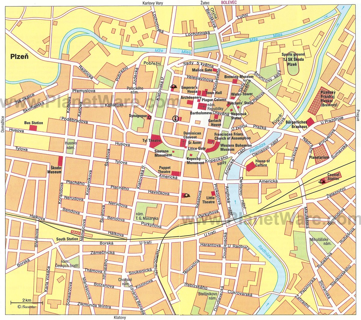 Plzen Map - Tourist Attractions