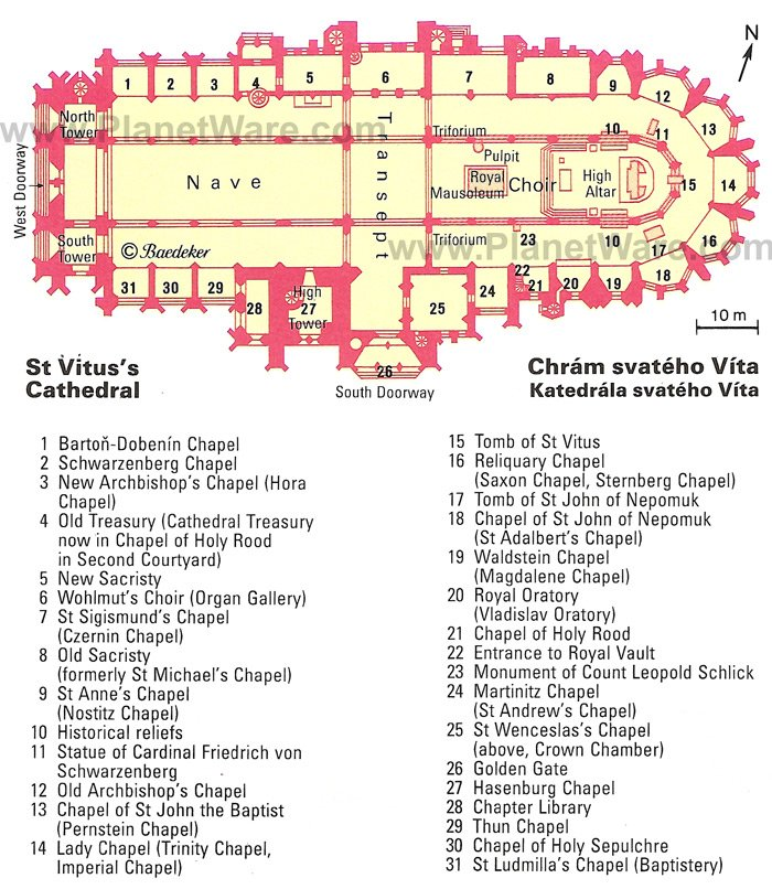 St Vitus's Cathedral - Floor plan map