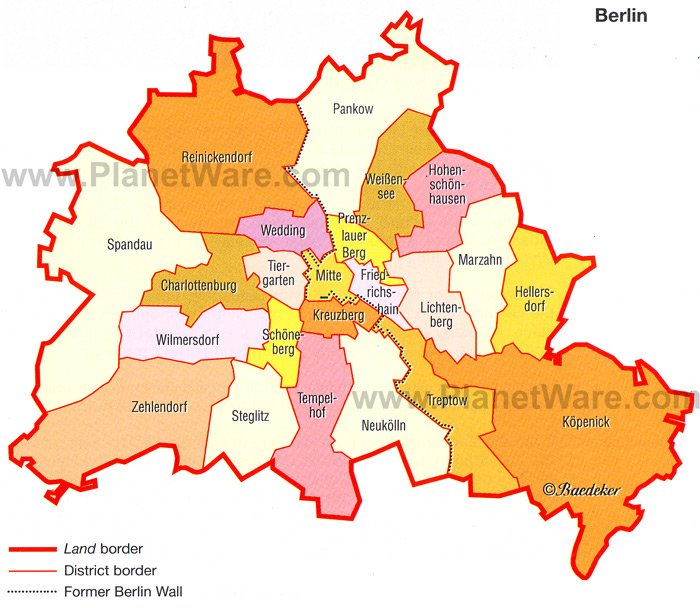 Berlin - The City and its Districts Map - Tourist Attractions