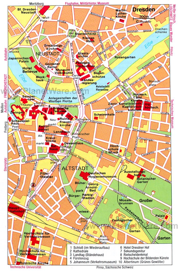 dresden map tourist attractions