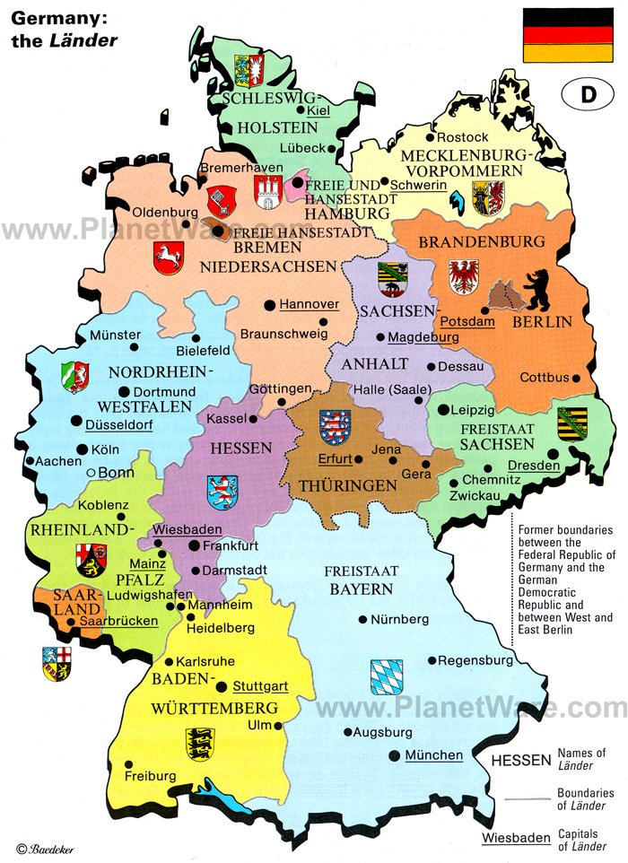 Some attractions within Germany: the Lander Map: