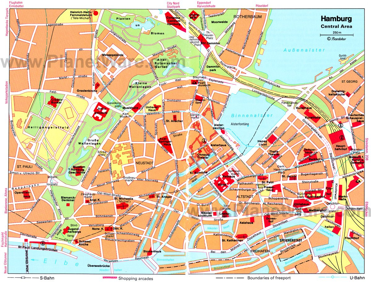 hamburg central area map tourist attractions
