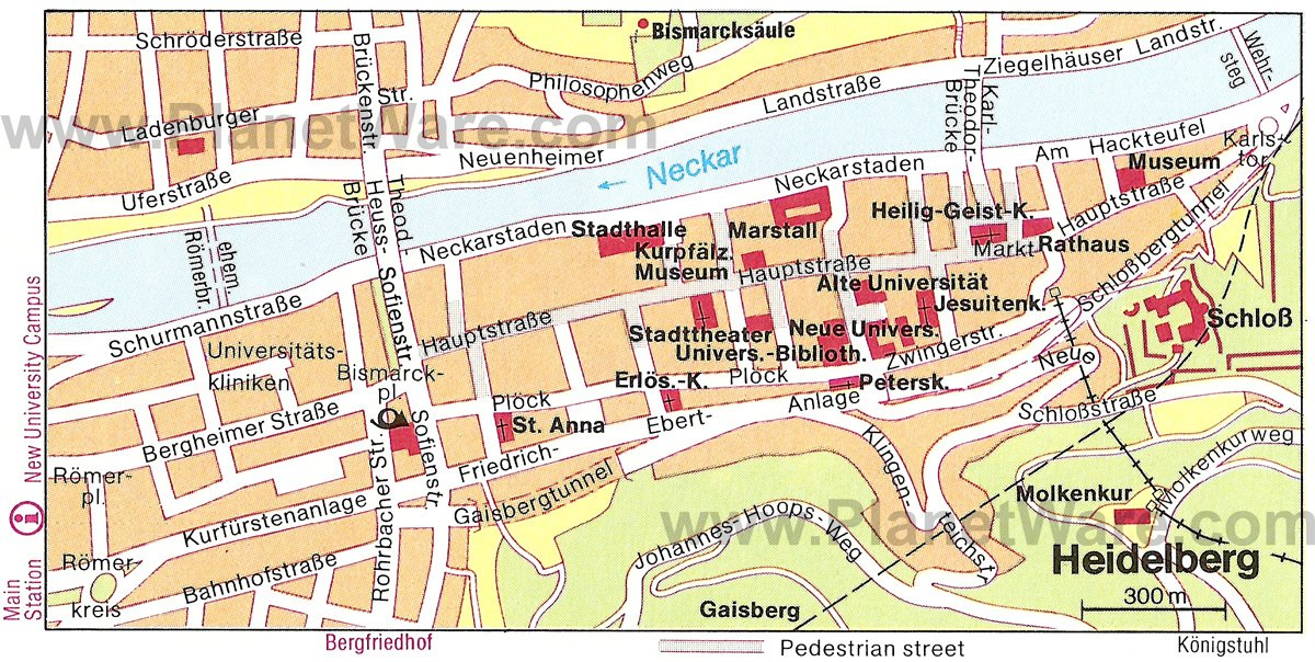 Heidelberg Map - Tourist Attractions