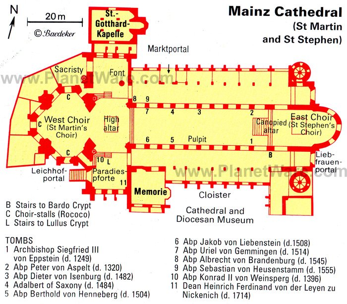 Mainz Cathedral - Floor plan map