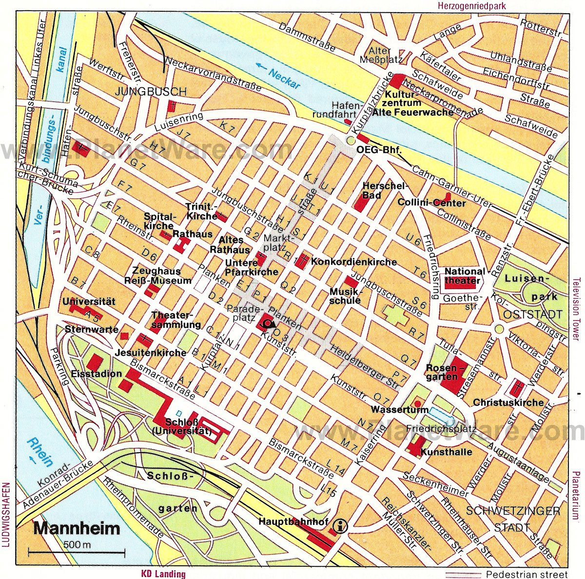 Mannheim Map - Tourist Attractions