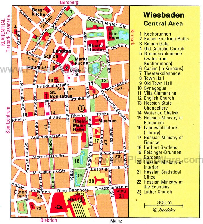 wiesbaden central area map tourist attractions