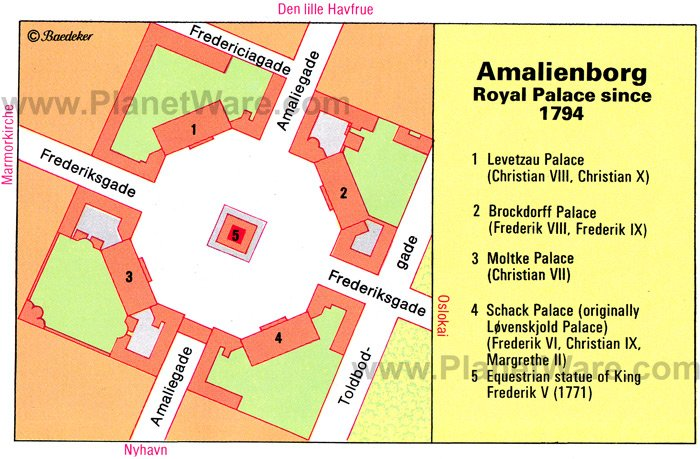 Amalienborg, Royal Palace since 1794 - Floor plan map