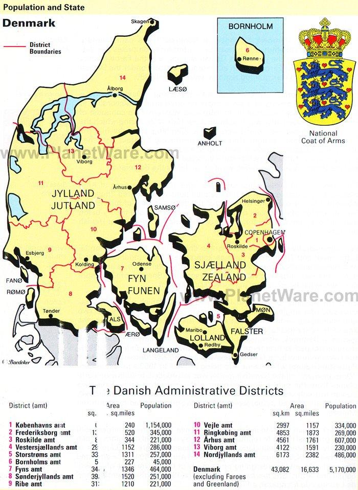 Map Of Denmark PlanetWare - Denmark map