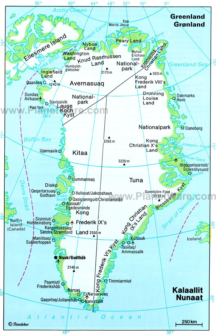 Greenland - Nunaat Map - Tourist Attractions