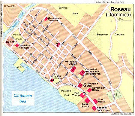 Roseau Dominica Map