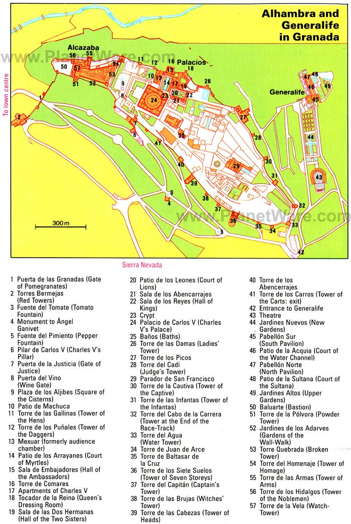 Alhambra and Generalife map - Tourist attractions