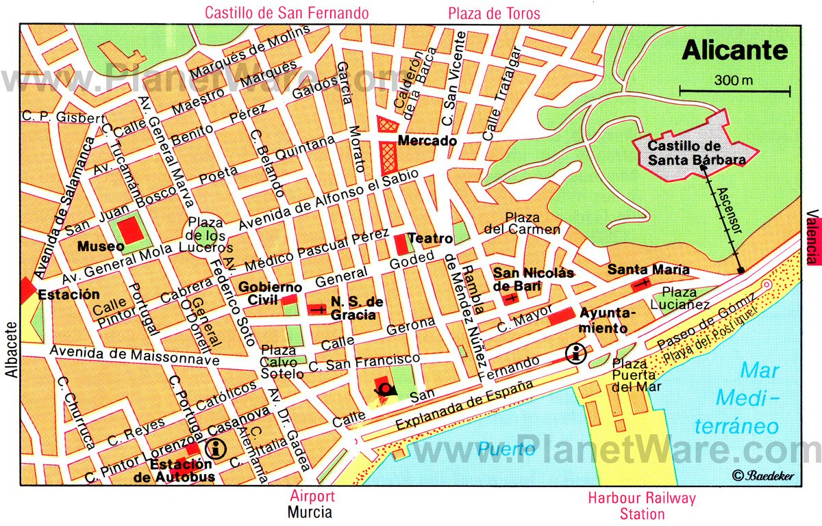 alicante spain cruise port of call - printable map