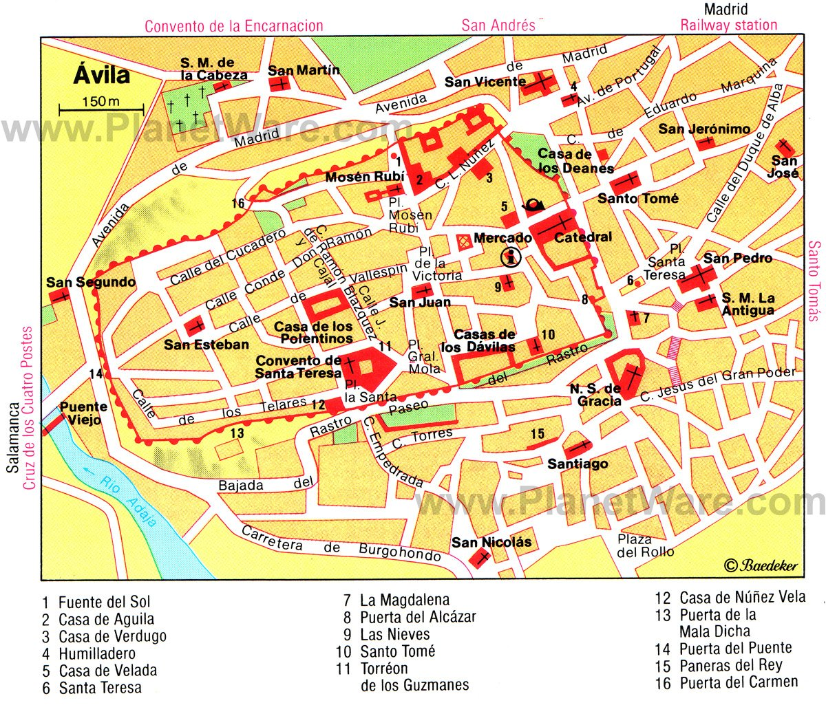 Ávila Map - Tourist Attractions