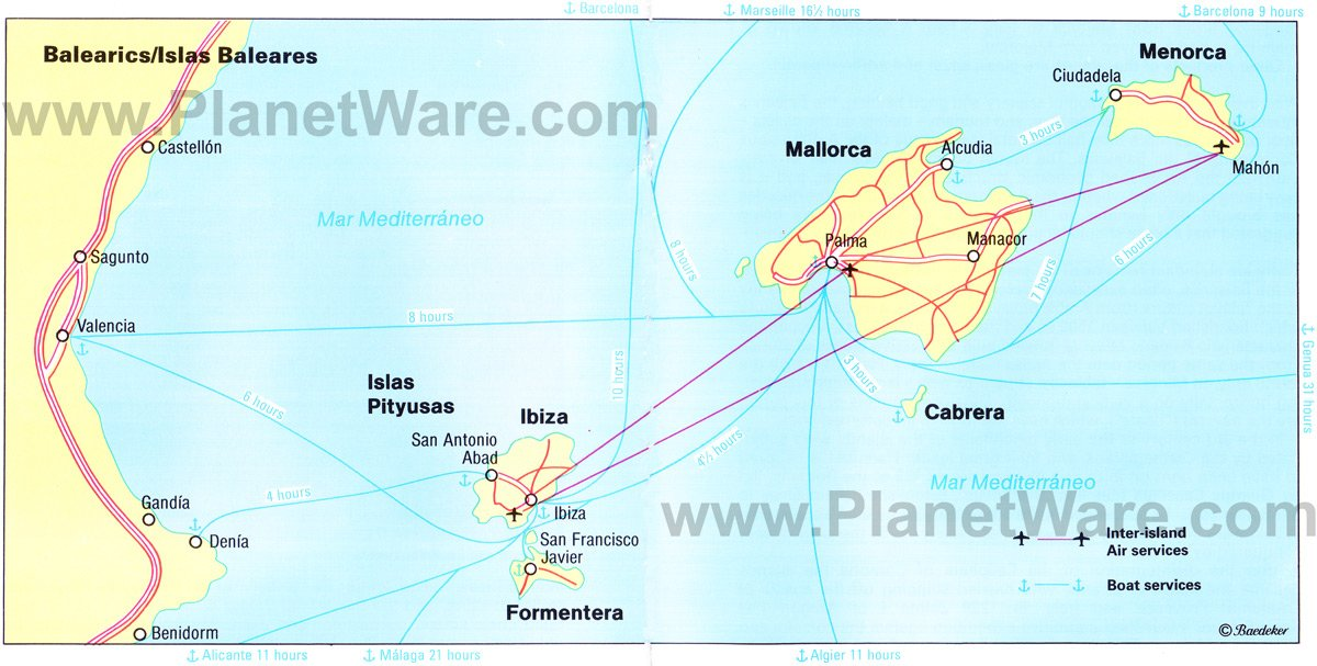 Balearic Islands Map - Tourist Attractions
