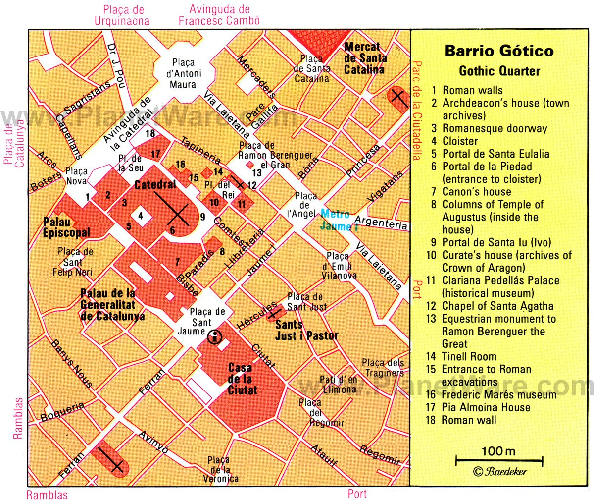 Barcelona - Gothic Quarter map - Tourist attractions