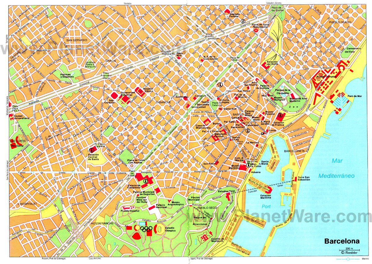 Barcelona Map - Tourist Attractions