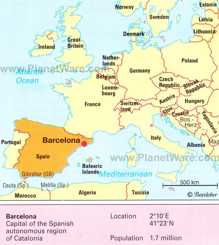 Map Barcelona Facts - Barcelona map of europe