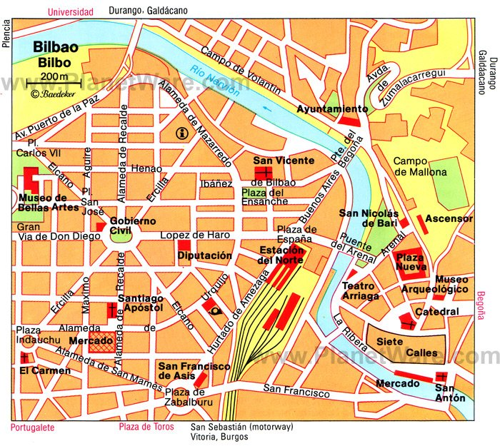 Bilbao Map. Bilbao is a major port and home to the Guggenheim Museum Bilbao.