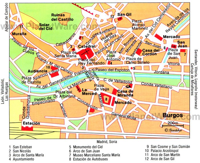 Burgos Map - Tourist Attractions