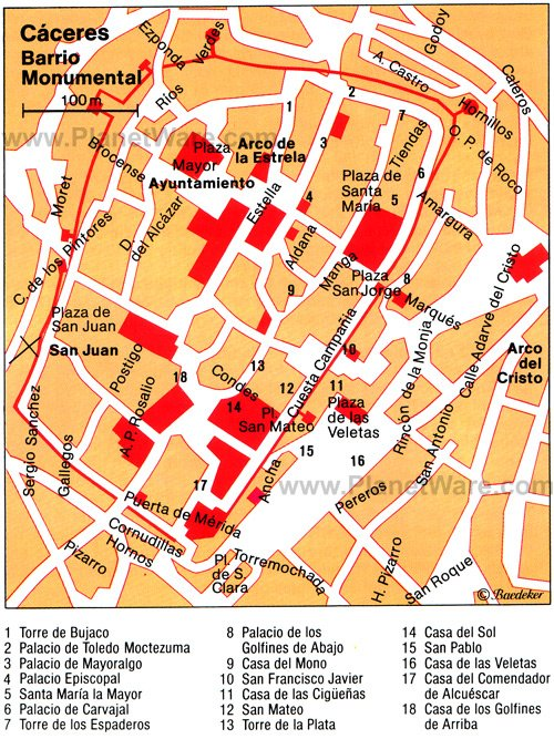 Cáceres - Barrio Monumental Map - Tourist Attractions
