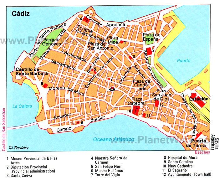 Cádiz Map - Tourist Attractions
