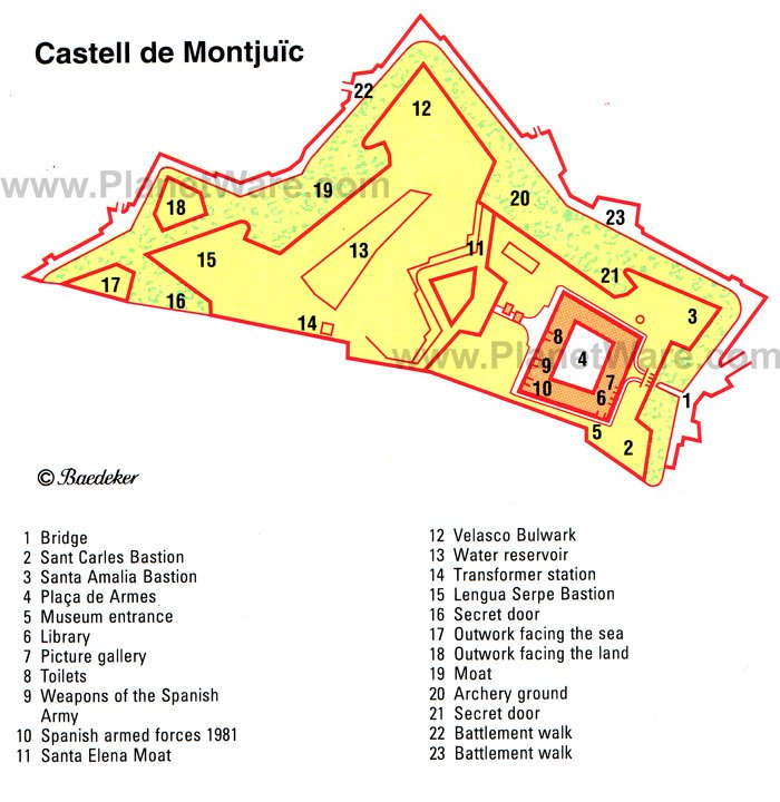 Castell de Montjuïc - Floor plan map