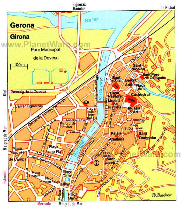 Gerona Map - Tourist Attractions