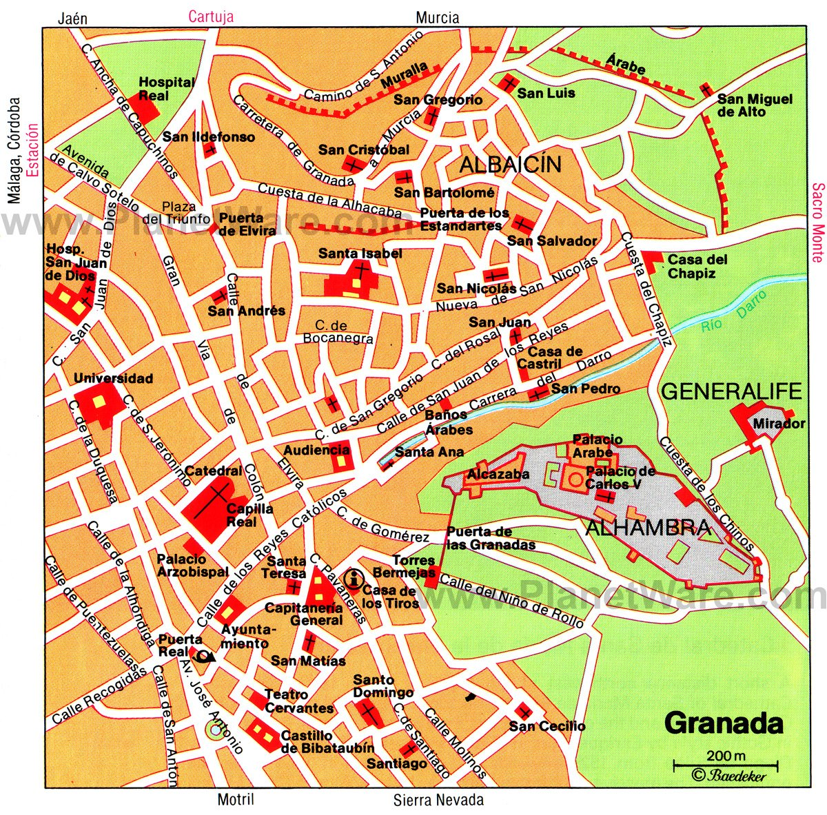 toprated tourist attractions in granada  planetware - granada map  tourist attractions