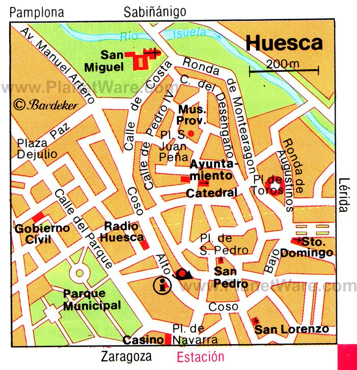 Huesca Map - Tourist Attractions