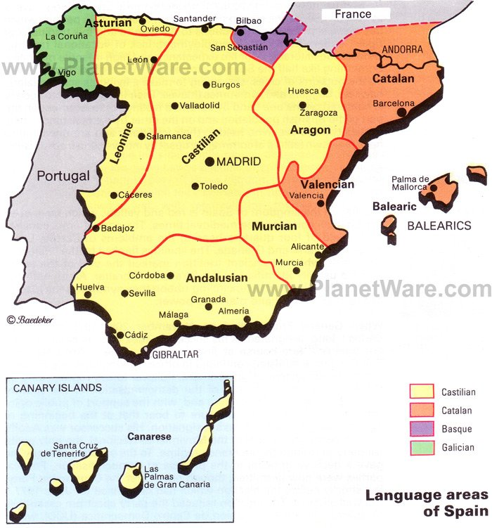 Map Of Language Areas Of Spain PlanetWare - Spain regions map