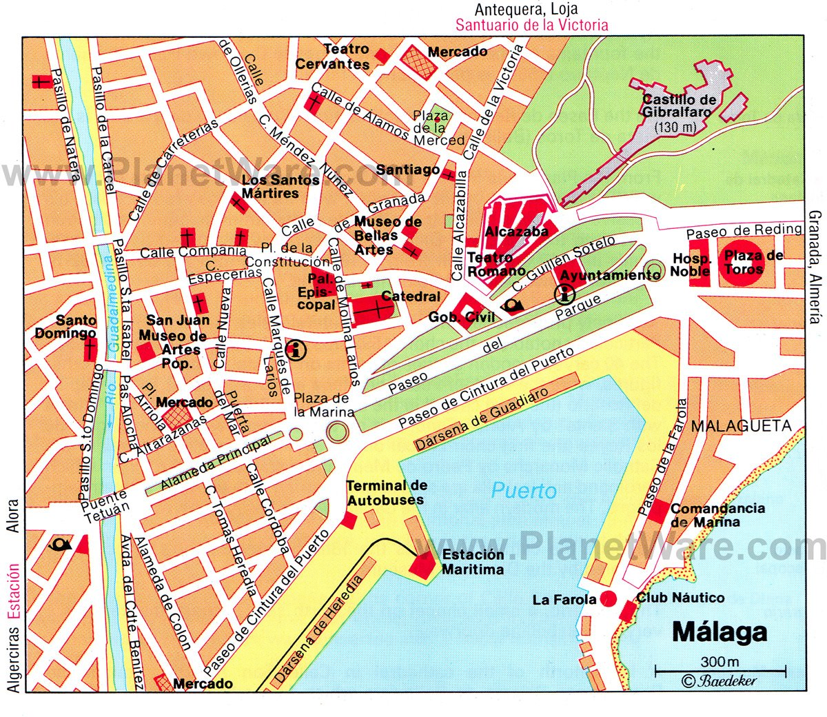 toprated tourist attractions in malaga  planetware - málaga map  tourist attractions