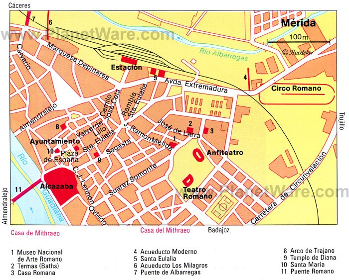 Mérida Map - Tourist Attractions