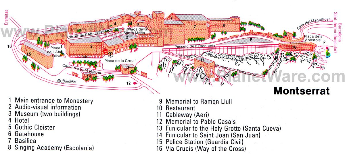 Montserrat Monastery Map - Tourist Attractions
