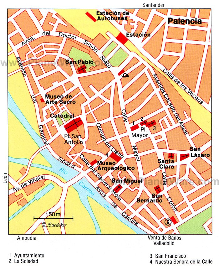 Palencia Map - Tourist Attractions
