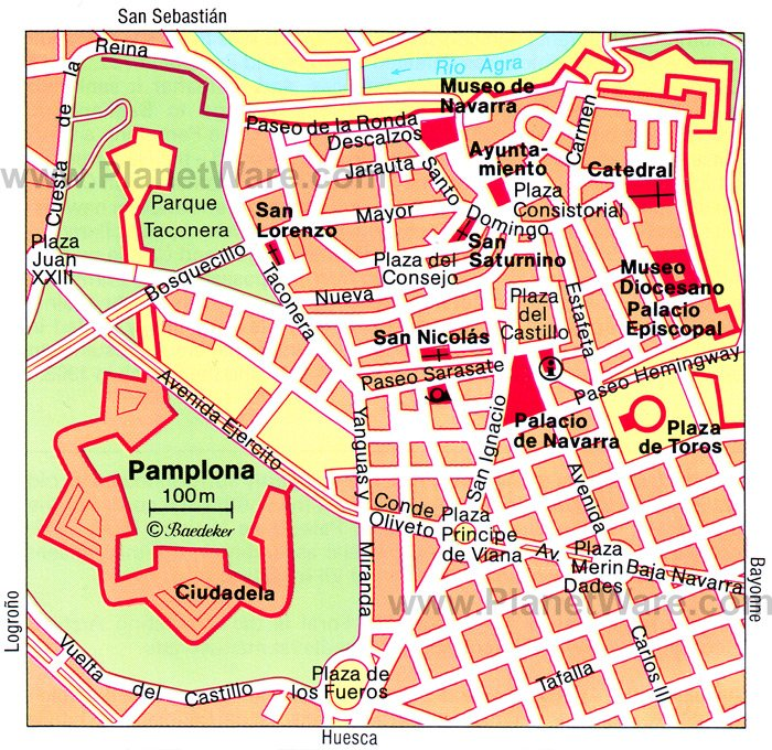 Pamplona Map - Tourist Attractions