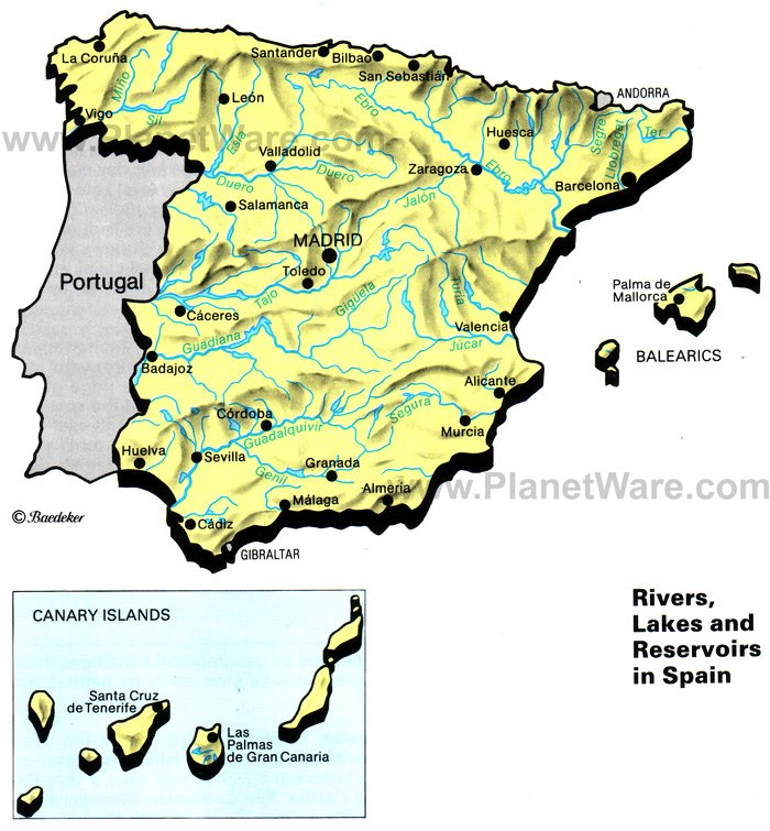 Rivers Lakes and Resevoirs in Spain Map