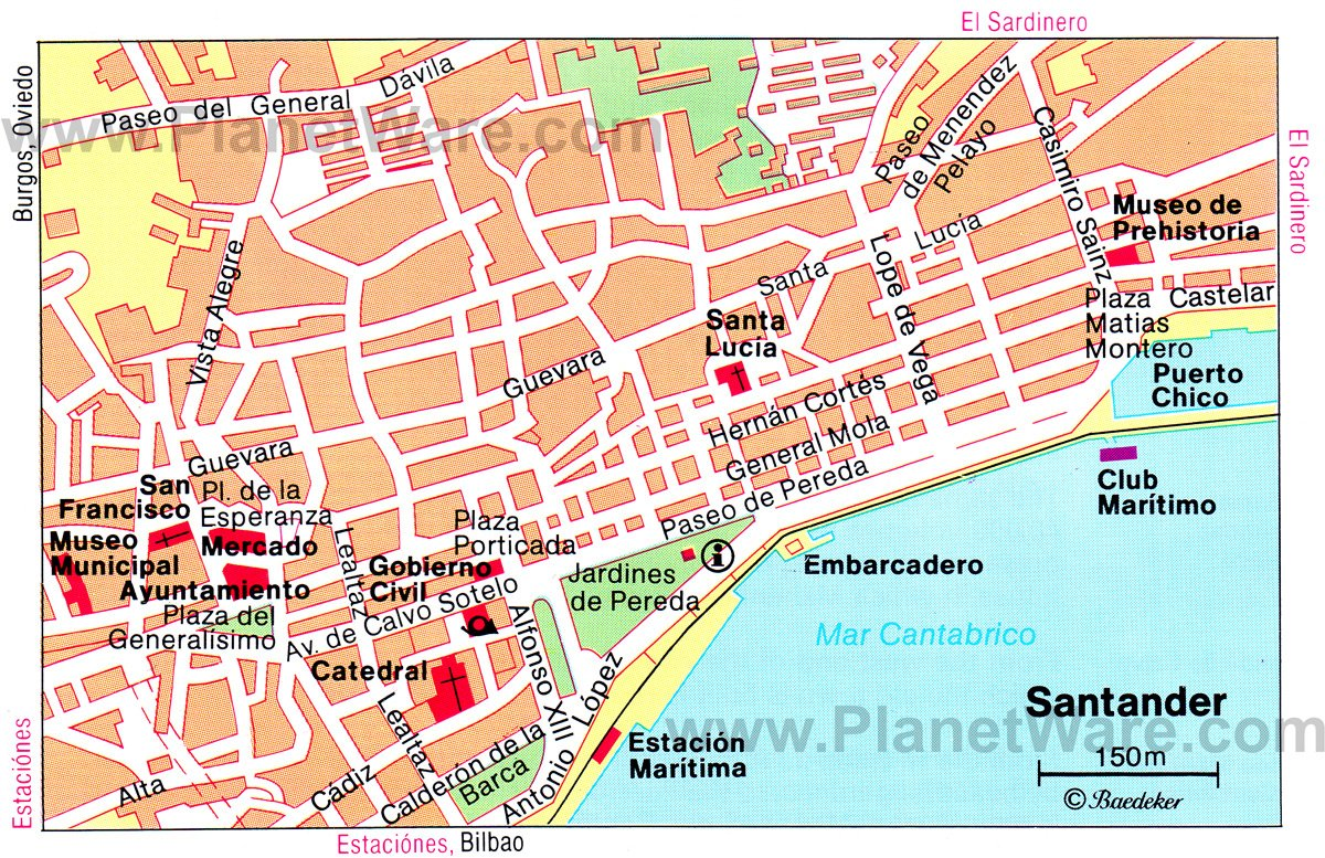 Santander Map - Tourist Attractions