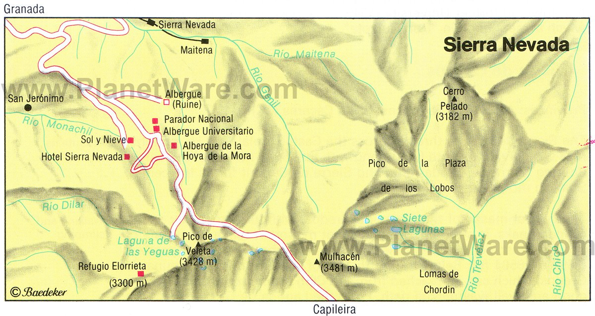 Sierra Nevada Map - Tourist Attractions