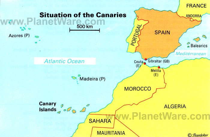 Situation of the Canary Islands Map - Tourist Attractions