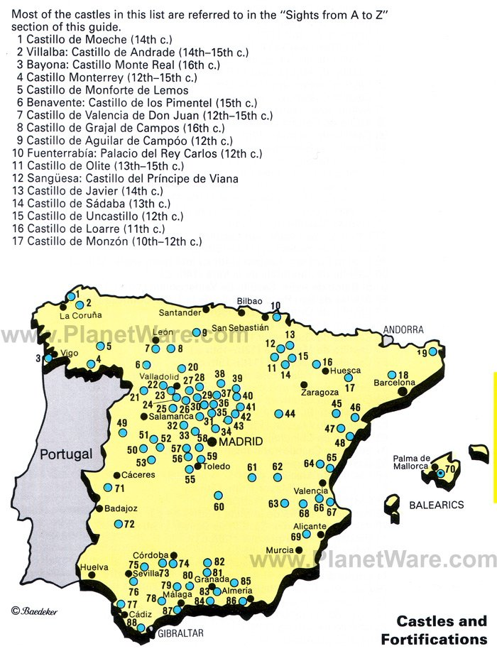 Map Of Spain With Barcelona.Map Of Spain Castles And Fortifications Planetware