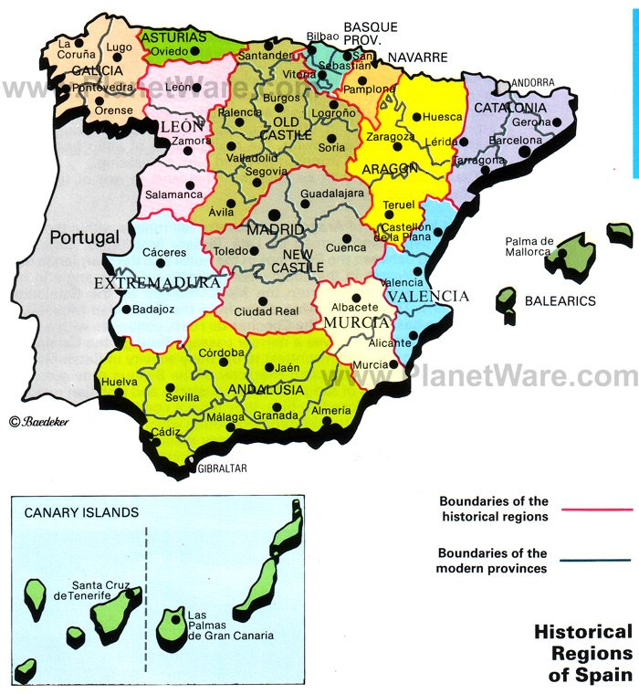 Map Of Spain Historical Regions PlanetWare - Spain historical map