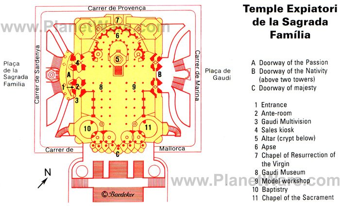 Temple Expiatori de la Sagrada Família - Floor plan map