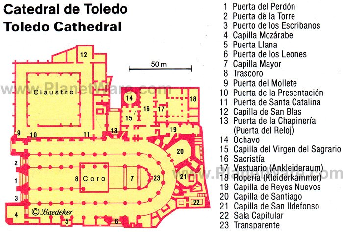 Toledo Cathedral - Floor plan map