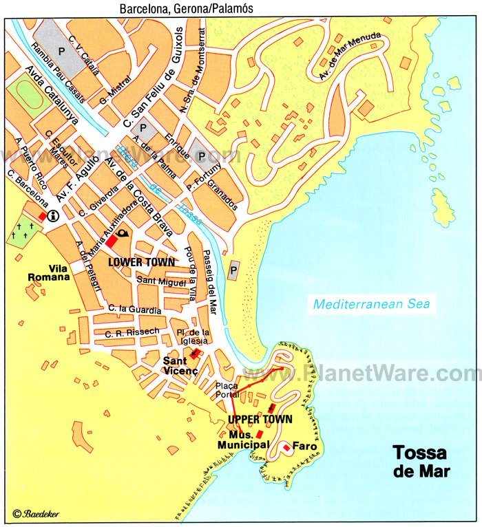 Map of Tossa de Mar Tourist Attractions PlanetWare
